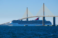 Cruise ship going under the Sunshine Skyway Bridge Royalty Free Stock Photo