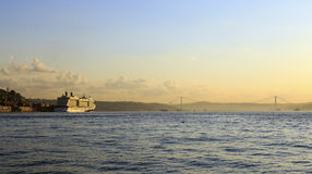 Cruise ship in Golden Horn bay,Istanbul,Turkey. Stock Photos