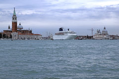 Cruise ship. In Grand canal in Venice, Italy Royalty Free Stock Image