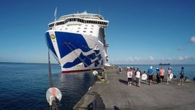 Cruise ship in Grenada stock footage