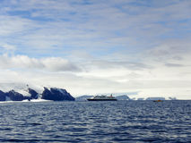 Cruise ship in Gustaf Sound, Wheddle Sea, Antarctica Royalty Free Stock Images