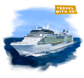Cruise ship. Hand drawn vector colorful illustration vector illustration
