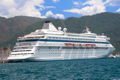 Cruise ship in harbor Stock Images