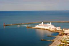 Cruise ship in harbor Stock Photos