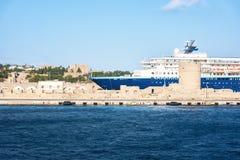 Cruise ship in harbor in City of Rhodes Rhodes, Greece stock photos