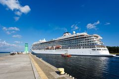 Cruise ship in the harbor of Gdansk Stock Photo