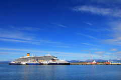 Cruise ship at harbor of Ushuaia, Tierra del Fuego, Argentina. Cruise ship at harbor of Ushuaia, southermost city in the world and the capital of Tierra del Stock Photos