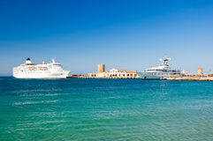 Cruise ship in a harbour. Greece, Rhodes. Royalty Free Stock Photography