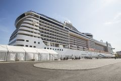 Cruise ship in a harbour Royalty Free Stock Photo