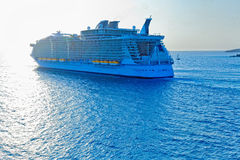 Cruise Ship Heading out to sea Stock Image