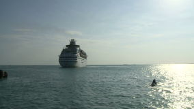Cruise ship heading out to sea stock video footage