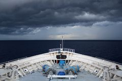 Cruise Ship Heading Into a Storm in the Bahamas Stock Photos