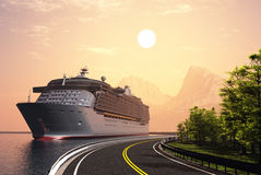Cruise ship. And highway at sunset Stock Images