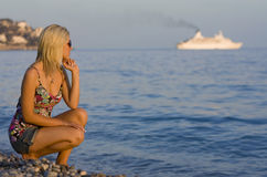 Cruise Ship On The Horizon stock photo