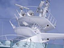 Cruise Ship Horns Radar Mast. And communication equipment Stock Photos