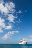 Cruise Ship on Horozon Vertical. White Luxury Cruise Ship Docked at St Croix Royalty Free Stock Image