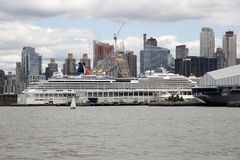 Cruise ship on Hudson River berth New York USA Royalty Free Stock Images