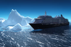 Cruise ship and iceberg. In the night Stock Photo