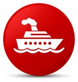 Cruise ship icon red round button. Cruise ship icon isolated on red round button abstract illustration Stock Photos