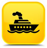 Cruise ship icon special yellow square button Royalty Free Stock Photo