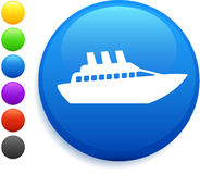 Cruise ship icon on round internet button Stock Photos