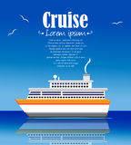 Cruise ship illustration summer time background Royalty Free Stock Image