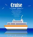 Cruise ship illustration summer time background Royalty Free Stock Image