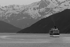 Cruise Ship In Black & White Stock Image