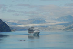 Cruise Ship In Glacier Bay Royalty Free Stock Photography