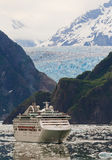 Cruise Ship In Tracy Arm Fjord, Alaska Royalty Free Stock Photography