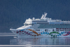 Cruise Ship in the Inner Passage. Just south of Juneau, Alaska royalty free stock images