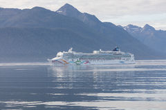 Cruise Ship in the Inner Passage. Just south of Juneau, Alaska royalty free stock image