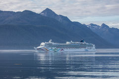 Cruise Ship in the Inner Passage. Just south of Juneau, Alaska stock photography
