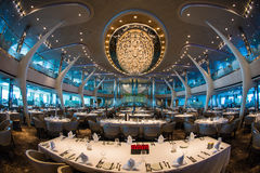 Cruise ship interior. Luxury cruise ship interior. View of the main Dining Room Stock Photos