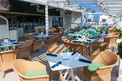 Cruise ship interior. The Porch, outdoors restraunt onboard cruise ship Celebrity Reflection Royalty Free Stock Photography