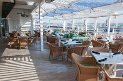 Cruise ship interior. The Porch, outdoors restraunt onboard cruise ship Celebrity Reflection Royalty Free Stock Images