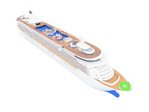 Cruise ship isolated front view. Isolated big cruiser over white stock illustration