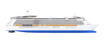 Cruise ship isolated side view Royalty Free Stock Photos