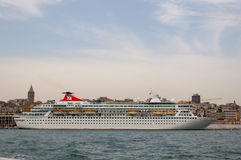 Cruise ship in Istanbul. Cruise ship Balmoral docked in Istanbul, Turkey. Fred. Olsen Cruise Lines Stock Image