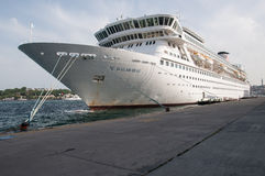 Cruise ship in Istanbul. Cruise ship Balmoral docked in Istanbul, Turkey. Fred. Olsen Cruise Lines Stock Images