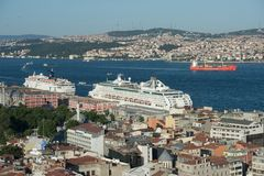 Cruise ship in Istanbul harbour, Turkey Stock Photos