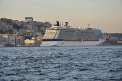 Cruise ship in Istanbul, view to Karakoy district and Port of Istanbul stock image
