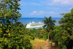 Cruise ship in Jamaica Stock Photo