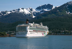 Cruise Ship In Juneau, Alaska. Cruise ship docked in Juneau, Alaska harbor royalty free stock images
