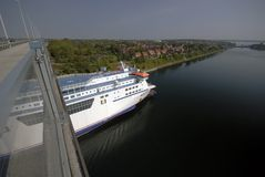 Cruise Ship in Kiel Canal Stock Photography