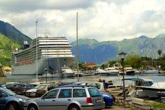 Cruise ship in Kotor harbor,Montenegro Stock Image