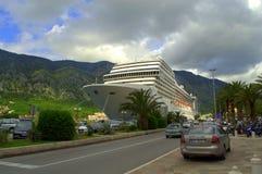 Cruise ship in Kotor,Montenegro Royalty Free Stock Images