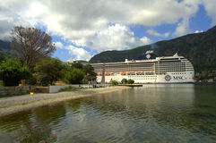 Cruise ship in Kotor port Stock Image