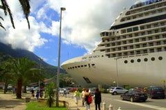 Cruise ship at Kotor town street,Montenegro Royalty Free Stock Photo