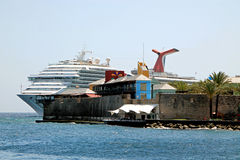 Cruise ship landing, tropical island Royalty Free Stock Photo